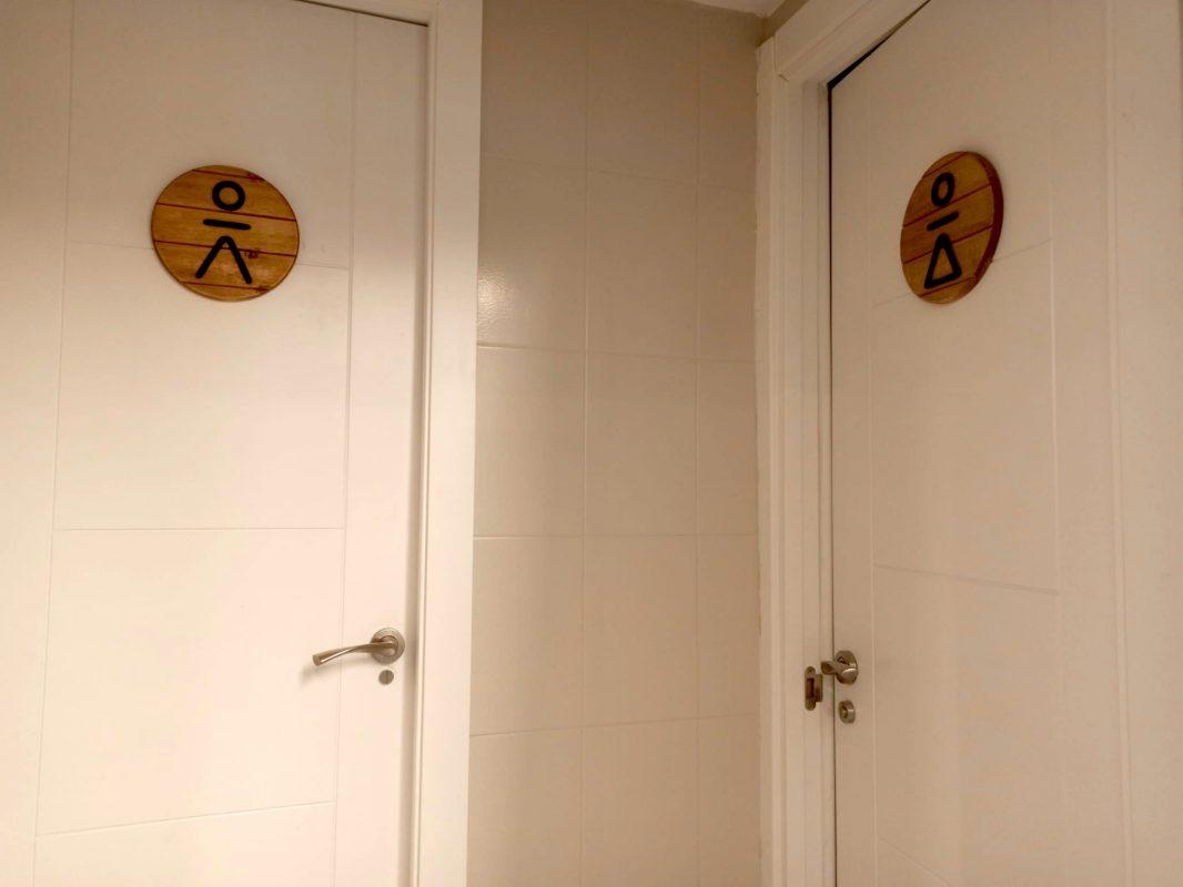 Carteles de madera lavabo